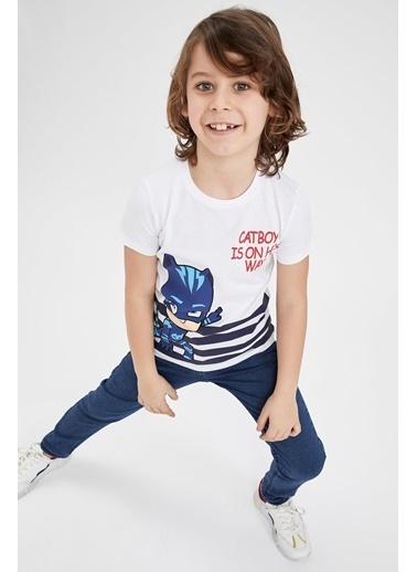DeFacto Erkek Çocuk PJ Masks Lisanslı Kısa Kol T-shirt Beyaz